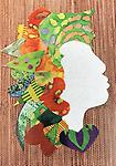 WB38 Card - Greeting cards of Sweetheart Ladies - Images of hand scrappy quilted silhouettes in bold, striking patterns by Willa Brigham (Blank inside)