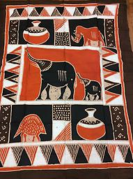 AM-WH-05 Wallhanging Anneta McCoy for Shop Afrika - 74x58 wallhanging of 100% cotton hand painted in Zimbabwe