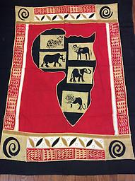 AM-WH-08 Wallhanging Anneta McCoy for Shop Afrika - 70x59 wallhanging of 100% cotton hand painted in Zimbabwe