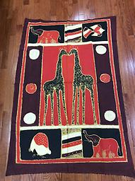 AM-WH-09 Wallhanging Anneta McCoy for Shop Afrika - 57x38 wallhanging of 100% cotton hand painted in Zimbabwe