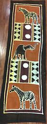 AM-WH-14R Wallhanging Anneta McCoy for Shop Afrika - 58x18 wallhanging of 100% cotton hand painted in Zimbabwe