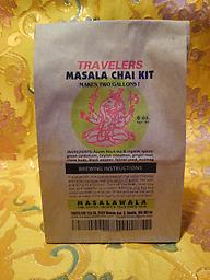 Travelers Masala Chai Kit (makes 2 gallons) Make delicious Masala Chai (Indian spiced tea), anytime! Genuine Assam black tea and organic spices. Each kit contains two packets of spice and two of tea. Just add water and sugar to brew.