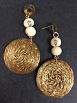 E0143-GG Golden Grass Disc earrings with acai seeds - Vitoria Global Fashion
