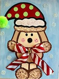 """CHRISTMAS PUPPY 12 x 16"""" Paint Pack *PICK-UP AT STUDIO. WE WILL EMAIL YOU TO ARRANGE PICK-UP ONCE ORDER IS RECEIVED."""