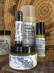 "Painless Salve ""The Journey Back"" Topical Pain relief :1 oz. Pain Therapy in a glass jar containing: Painless Essential Oil Blend, Full Spectrum Hemp CBD Oil, 4 herbal Infused oils blended into a Salve."