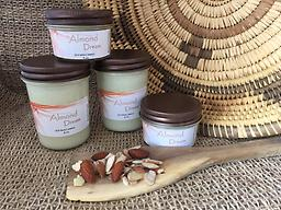 Almond Dream Soy Wax Candle Hand poured, American grown & processed soy wax. Clean burning no catagens. A warm aroma of Almonds with the freshness of a breeze. Candles come in reusable glass jars with Hemp Wicks. 6 Melts in pack