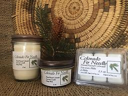 Colorado Fir Neddle Soy Wax Candle Soy Candles and Melts are hand poured, American grown, processed soy wax with hemp wicks. Clean burning with no catagens. The crisp clean scent of the Colorado Fir Needle.