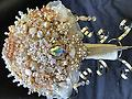 Bridal Brooch Gold Jeweled with a Double Cascade - Large Elegant Chic Bridal bouquet has rose gold jewels & large pearl brooches, plus crystal embellishments in warm tones.