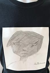 """Create Kid JoJess Collection - Pencil Sketch Boy Free hand Artwork by Josiah, on a black T-shirt (request white tees in """"note to seller"""" at checkout) Proceeds above cost, will go to the artist."""