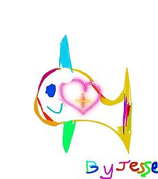 """Create Kid JoJess Collection- Heart Fish Artwork by Jesse, on a white T-shirt (request black tees in """"note to seller"""" at checkout) Proceeds above cost, will go to the artist."""