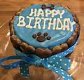 Birthday Cake Wrapped with Bones-Blue - Birthday Cake Wrapped with Bones in Blue with Ribbon.
