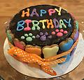 Birthday Cake Wrapped with Bones-Carob - Birthday Cake Wrapped with Rainbow Bones in Carob with Ribbon