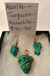 Azurite Set Wrapped Azurite Turquoise Malachite Wrapped Rare Find
