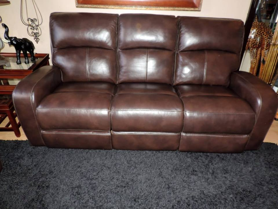 Macy S Hannon Sable Leather Dual Electric Reclining Sofa