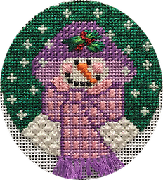 January 2019 Snowman Ornament Exclusive Diversions Needlepoint hand painted canvas, threads and stitch guide by Mary Lou Kidder and Mandy Adams. SHIPPING INCLUDED!