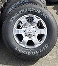 """18"""" Ram 2500 OE Polished Rims & AT Tires New Take Offs - This is a beautiful set of factory 18"""" polished wheels and Firestone Transforce AT tires with full tread. Outline white LT 275/70R18 10 ply tires."""