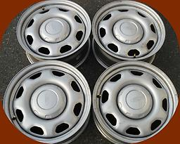"17"" Factory Ford F150 Steel Wheels Caps Set of four take off Ford F150 rims and center caps. Painted gray steel."