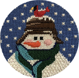 March 2019 Snowman Ornament Exclusive Diversions Needlepoint hand painted canvas, threads and stitch guide by Mary Lou Kidder. SHIPPING INCLUDED!