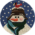 March 2019 Snowman Ornament - Exclusive Diversions Needlepoint hand painted canvas, threads and stitch guide by Mary Lou Kidder. SHIPPING INCLUDED!