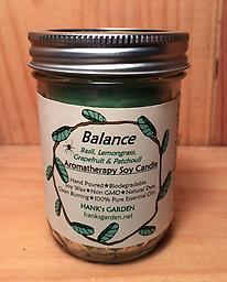 BALANCE Aromatherapy Soy Candle Clean Burning Soy Candles with 100% Pure Essential Oils of BASIL, LEMONGRASS, GRAPEFRUIT & PATCHOULI - Green candle with Earthy/Exotic Aroma!
