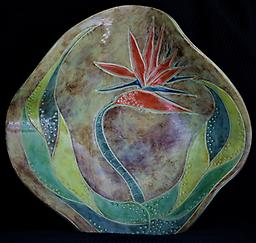 Bird of Paradise Platter Hand-built, original art piece that is food safe. Available in many finishes.