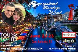 Supernatural Marriage Retreat - June 22-23, 2019 This is a weekend of empowerment, anointing and healing of your marriage. You will not only learn how to have a SUPERNATURAL marriage, but also live a SUPERNATURAL life! Price is per couple.