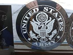 "10"" round Army engraved Mirror 10"" round mirror United State Army"