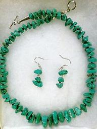 """""""A TURQUOISE NECKLACE & EARRINGS SET"""" This beautiful set consists of an approximate 20 inch turquoise necklace and a set of earrings (approx. 1 inch) to match. Beautiful !!!"""