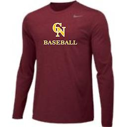 CN Baseball Men's Long Sleeve Cardinal Tee with CN Logo Nike Men's Long Sleeve Dri-Fit Legend Tee with 2-color front logo.