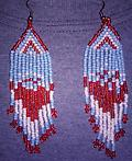 BEAUTIFUL ~ Red White & Blue Earrings - These beautiful & patriotic red, white & blue earrings are approximately 1.25 inches wide by 4 inches long. Beautiful gift for any lady.