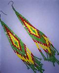 SOUTHWESTERN EARRINGS, HANDCRAFTED - Large pair of Southwestern style seed-bead earrings