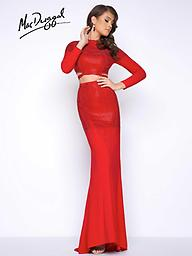 Mac Duggal 62701 Red Fully beaded, long-sleeved, two piece, slight mermaid prom dress with small train and open back. Available in classic prom dress color, Red. Mac Duggal Style 62701 is the perfect dress.