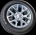 "20"" GMC Polished Rims & Tires incl lugs tpms - This is a new take off set of factory rims and tires. These have less than 25 miles on them. 20"" polished alloy wheels (GMC caps) with 275/55R20 Goodyear Eagle tires."