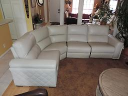 Macy's Jessi Quilted Side Argento Leather Triple Electric Reclining Sectional Macy's Jessi Quilted Side Argento Leather Triple Electric Reclining Sectional