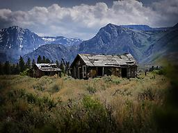 """California Days Gone By - 16"""" x 24"""" Nestled at the foot of the mountains, this lovely rustic house and barn sit just off the road not far to the east of Yosemite National Park."""