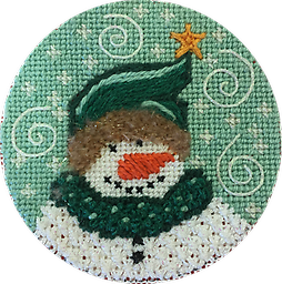 April 2019 Snow Person Exclusive Diversions Needlepoint hand painted canvas, threads and stitch guide by Mary Lou Kidder. SHIPPING INCLUDED!