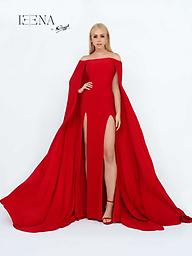 Ieena for Mac Duggal 25007 Cape Gown Available in: Red Size 6 / Black Size 4