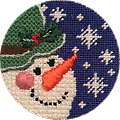 May 2019 Snow Person - Exclusive Diversions Needlepoint hand painted canvas, threads and stitch guide by Mary Lou Kidder. SHIPPING INCLUDED!
