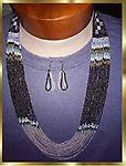 "#9 SOUTHWEST MULTI-STRAND NECKLACE SET"" - Beautiful seed bead 16 strand necklace, opens to approximately 32 inches, multi-colored seed beads with matching 3 loop earrings 2 inches long. SET. Primary colors are blue, white, purple."