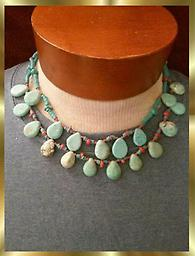 #99 DOUBLE STRAND TURQUOISE & CORAL NECKLACE Double STRAND TURQUOISE & CORAL NECKLACE 18 INCHES LONG & Beautiful