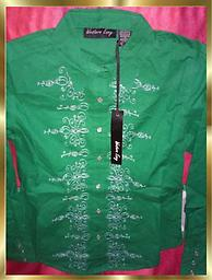 B2 THE LAST ONE Ladies Western Shirt Ladies Size M Western Shirt by Western Envy., Beautiful Emerald Green, 100% cotton with fancy white stitching and pearl snaps. THE LAST & THE ONLY SIZE MEDIUM LADIES