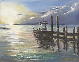 """""""Sunset by the Dock"""" Notecards Box of 8 (5"""" X 7"""") blank Notecards with envelopes"""