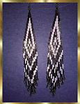 B8 Southwest Design Earrings Metallic + White - These handcrafted beaded earrings are Southwest style, approximately 1.25 inches wide by 7 inches long. (1 pair in stock)