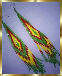 C2 SOUTHWESTERN EARRINGS, HANDCRAFTED Large pair of Southwestern style seed-bead earrings