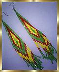 C2 SOUTHWESTERN EARRINGS, HANDCRAFTED - Large pair of Southwestern style seed-bead earrings