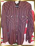 B4 Panhandle Slim Men's Western Shirt - Panhandle Slim Men's Western Shirt, Size Large, Cranberry, White, black floral pattern, diamond shape pearl snaps Long sleeves, Retro Western Wear.