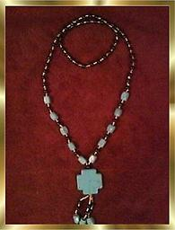 """GF TURQUOISE NECKLACE CROSS PENDANT C8 Turquoise cross pendant necklace, approximately 30 inch long loop and cross pendant is 1.25"""" square & with dangles adds 3 inches. Beads are black and gold and this necklace attracts attention."""