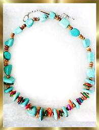 A4 TURQUOISE NECKLACE FOR YOU Turquoise Southwest style necklace, 20 inches long, accented with multi colored gems
