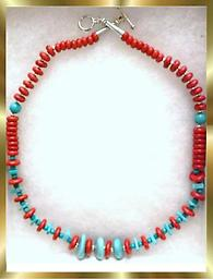 A6 BEADED SOUTHWEST STYLE NECKLACE Southwestern style red coral & turquoise color, beaded necklace, approximately 18 inches long