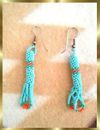 A3 Beaded loop Earrings Southwest Style Beaded loop Earrings, turquoise & orange beads, approximately 2 inches long.